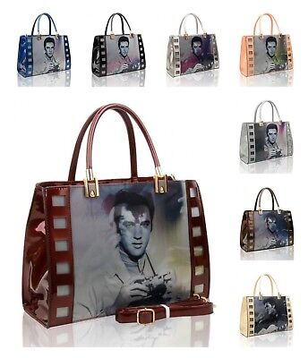 New Women's Ladies 3 D Celebrity Elvis Presley Singing Star Hand Bag Patent 3 D