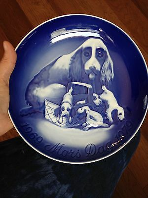 Vintage 1969 Mothers Day Plate From Denmark Spaniel Dog And Pups Free Shipping