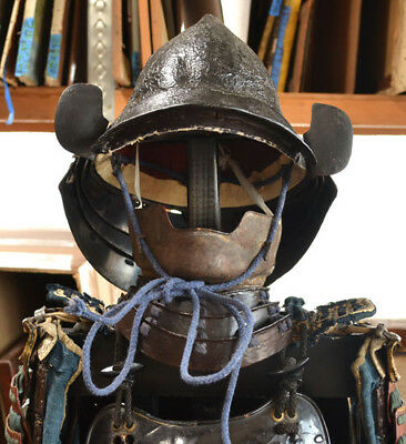 Antique Japanese Old Samurai Suit Of Armor Complete W Kabuto Mempo & Other Parts