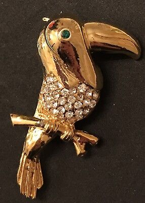 Vintage Gold Brooch Toucan Parrot Bird Faceted Rhinestone Pin Estate Antique