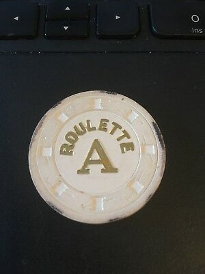 Vintage Casino Chip: Roulette A, white ( Top hat and Cane)