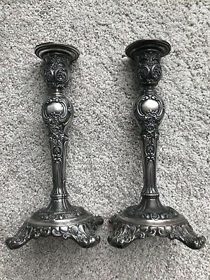 "Vintage Pair Of Wm Rogers & Son ""victorian Rose"" Candle Sticks"