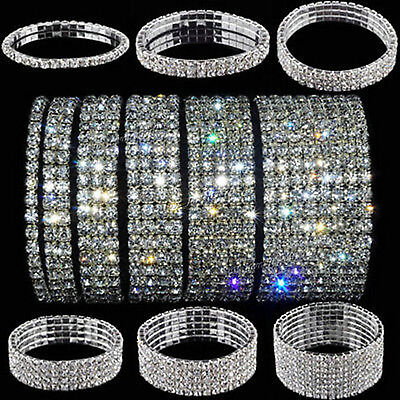 Crystal Rhinestone Stretch Bracelet Bangle Wedding Bridal Wristband Lady Gift NT