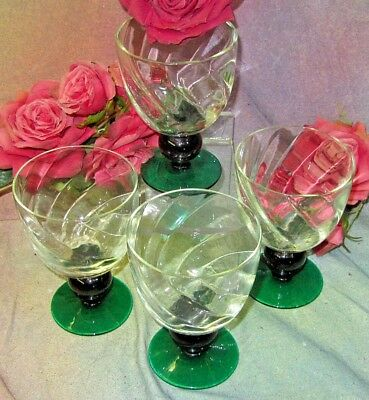 ANTIQUE stemware SWIRL glass HAND BLOWN Goblets CRYSTAL emerald green SET of 4