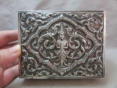 Vintage Sterling Silver, cedar wood lined cigarette box. Siam