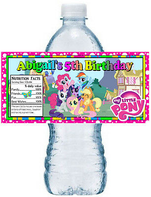 20 MY LITTLE PONY BIRTHDAY PARTY FAVORS ~ WATER BOTTLE LABELS  waterproof ink