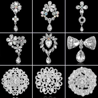 Charm Wedding Bouquet Women Flower Crystal Pendant Breastpin Brooch Pin Jewelry