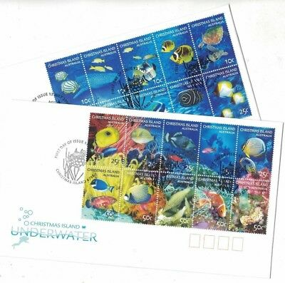 2004 Christmas Island Marine Life SG 543/62 FU or FDC set of 2 covers