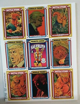 Tremendous Trump DONALD J TRUMP TRADING CARDS UNCUT PROMO SHEET Antarctic Press
