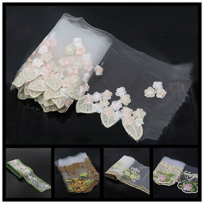 2-3 Yds Embroidered Floral Mesh Lace Trim Bridal Dress Sewing Ribbon Craft Decor