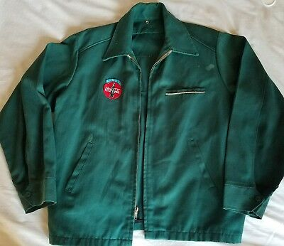 Vtg Coca Cola driver jacket w/patches green zip front Distressed hipster grunge
