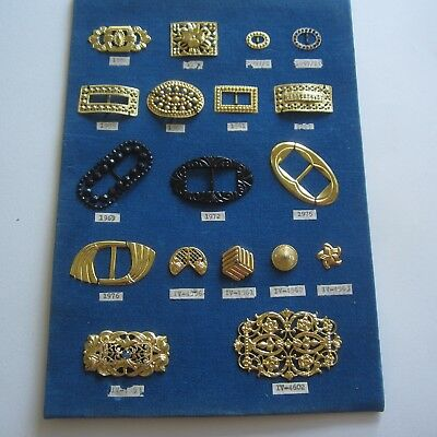 Vintage Couture Metal Buckles & Buttons Gold Black Silver 1940s 1950s Sample
