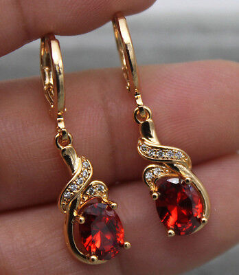 18K Yellow Gold Filled - Swirl Ruby Topaz Zircon Lady Hoop Gemstone Earrings