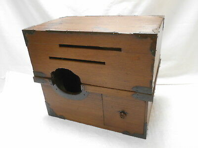 Antique Sugi Wood Smokers Box Japanese Drawers Hibachi 1880s #817