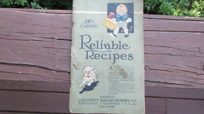 Vtg Calumet Baking Powder RELIABLE RECIPES Cookbook Kewpie Child Dog 19th ED