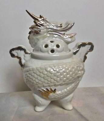 White Dragon Incense Burner Gold Accents Ceramic 2 Piece 7""