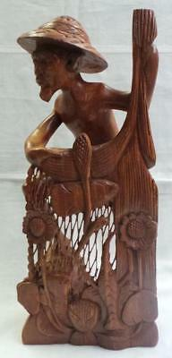 Retro Hand Carved Wooden Asian Statue
