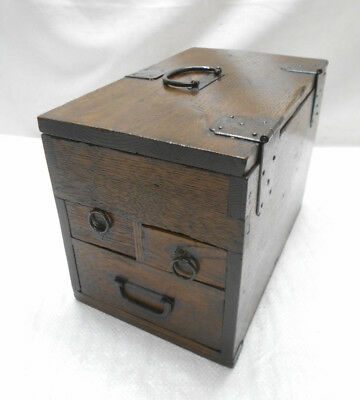 Antique Sugi Wood Calligraphy Box Japanese Drawers Circa 1890s #824