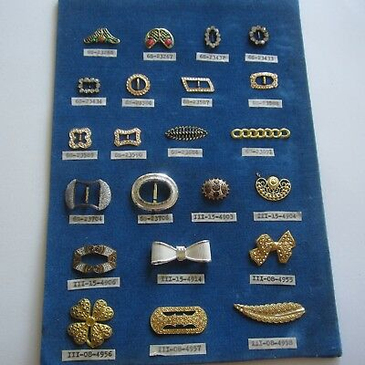 22 Vintage Couture Allsorts Buckles Studs Trims 1940s 1950s Metal Diamonte Rare