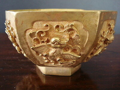 Museum Quality Old Chinese Ceremonial Offering Bronze Gilt Bowl