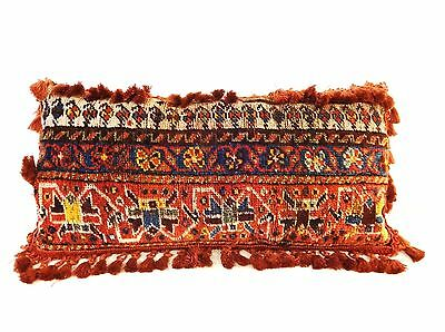 "Superb /Rare large 19th c Tribal Kashqai Rug fragment Lumbar Pillow 12"" by 25"""