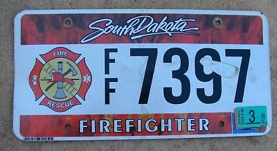 """Sd Fire Rescue Fireman Firefighter Graphic License Plate """" Ff 7397 """" Hook Ladder"""