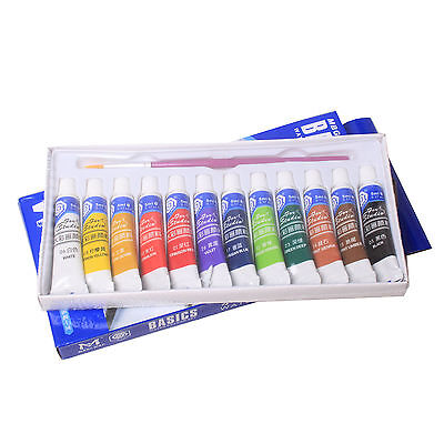 12 Color 5ml Paint Tube Draw Painting Watercolor Set & Free Paint Brush