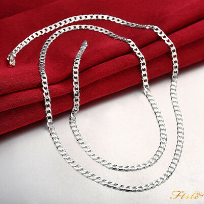 Fashion 4MM 925 Sterling Silver Chain Men Necklace