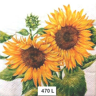 (470) TWO Individual Paper Luncheon Decoupage Napkins - SUNFLOWERS, FLOWERS