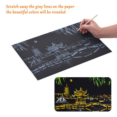 Magic Colored Scratch Art Painting Paper Educational Toy w/ Drawing Stick D7B6