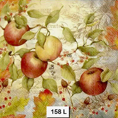 (158) TWO Individual Paper Luncheon Decoupage Napkins - APPLES, AUTUMN, FRUIT