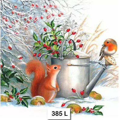(385) TWO Individual Paper Luncheon Decoupage Napkins -SQUIRREL BIRD ROBIN