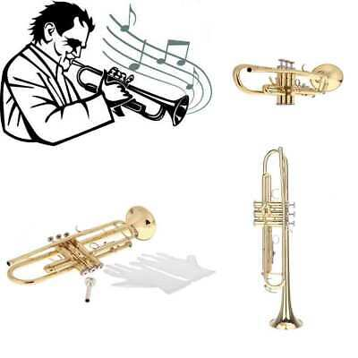 Trumpet Bb B Flat Brass Exquisite with Mouthpiece Gloves Gold for Beginner I4N0