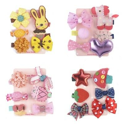 6Pcs Lovely Kids Infant Hairpin Baby Girl Cartoon animal motifs Hair Clip Set