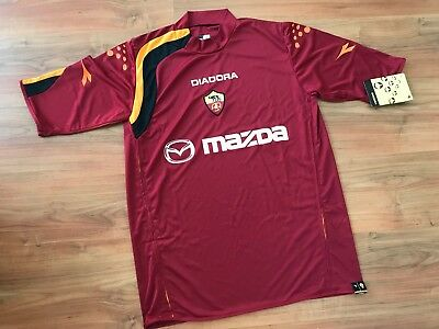 NEW Mens DIADORA AS ROMA 2004 HOME FOOTBALL Shirt (L-XL) *BNWT*
