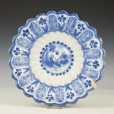 A Rare Antique 17th Century Dutch Delft Blue & White Gadrooned Chinoiserie Dish