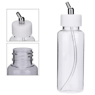 10X 100cc Plastic Airbrush Paint Bottle Jar Adapter Dual-Action Siphon Feed F9L7