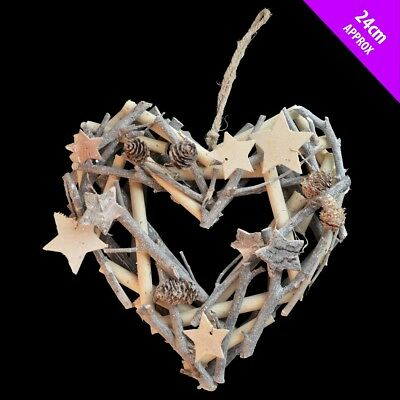 Natural Wood Glitter Twig Wreath x 24cm Nordic Rustic Christmas -  Star or Heart