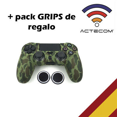 Actecom® Funda + Grip Silicona Camuflaje Verde Oscuro Mando Ps4 Playstation 4
