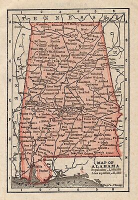 RARE Antique ALABAMA Map Original 1888 MINIATURE Vintage Map of Alabama 5683