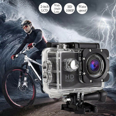 "2"" 1080P Ultra HD 12MP Helm Action Camera Sports DV Cam 30m Waterproof"