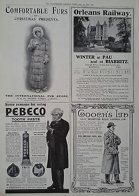 Advert Orleans Railway-Pebeco Tooth Paste-Gooch's Ltd-International Fur Store