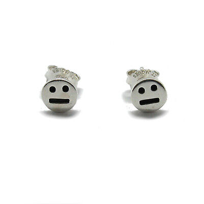 Small sterling silver earrings solid hallmarked 925 Emoticons Smile