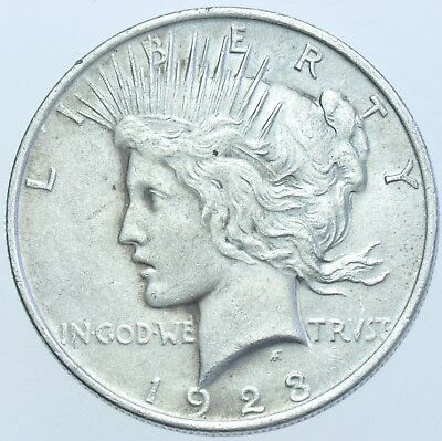 Usa United States Peace Dollar, 1923 Silver Coin Ef-40