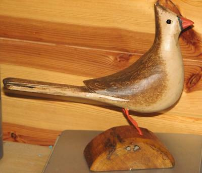 female CARDINAL bird hand carved & painted JIM SLACK Pekin IL   decoy carver