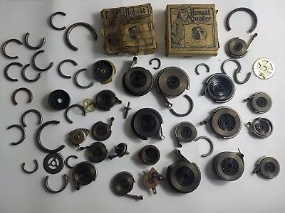 Lot Of Clock Springs Gears Parts For Vintage Wind Up 20 Antique Steampunk