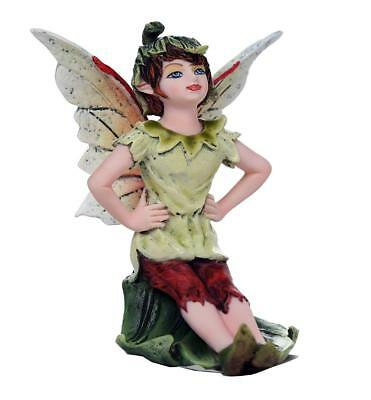 "Miniature Garden Boy Fairy Pondering Figurine Statue 3"" H Small Faery Collection"