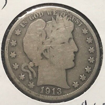 1913 50C Barber Half Dollar, SEMI-KEY DATE! (39378)