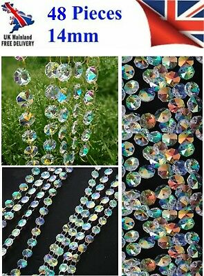 48 Chandelier Light Ab Crystals Droplets Glass Bead Wedding Drops 14Mm Prism