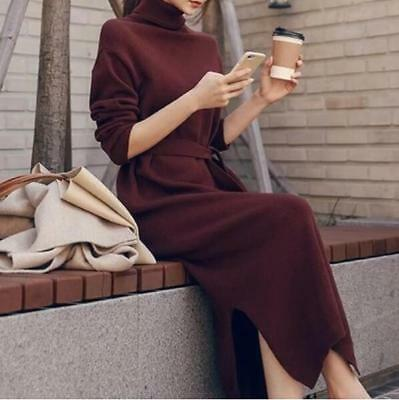 Womens Turtleneck Dress Cashmere Warm Long Maxi Gown High Neck Pullover Loose U8